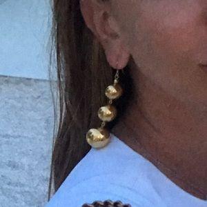 Gold three ball drop earrings